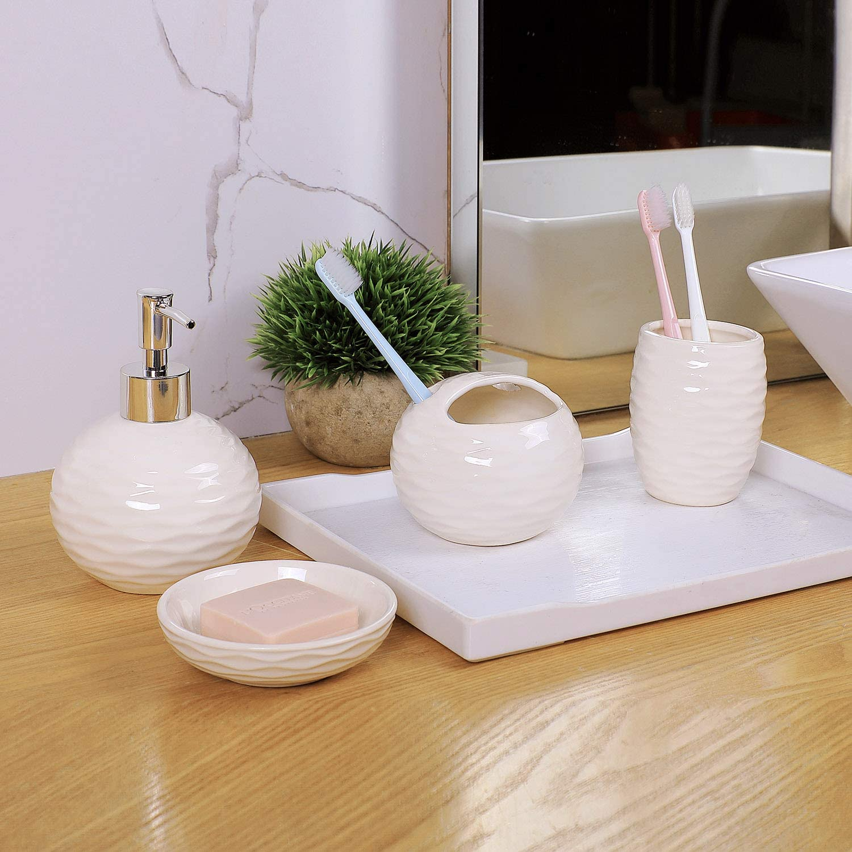 Juego de 4 accesorios para ba/ño que incluye 1 jabonera 1 portacepillos de dientes y 1 vaso color blanco y bamb/ú 1 dispensador de jab/ón